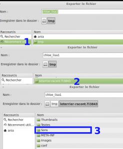 1) dossier tmp 2) leterrier-racont... : double clic 3) sons : double clic
