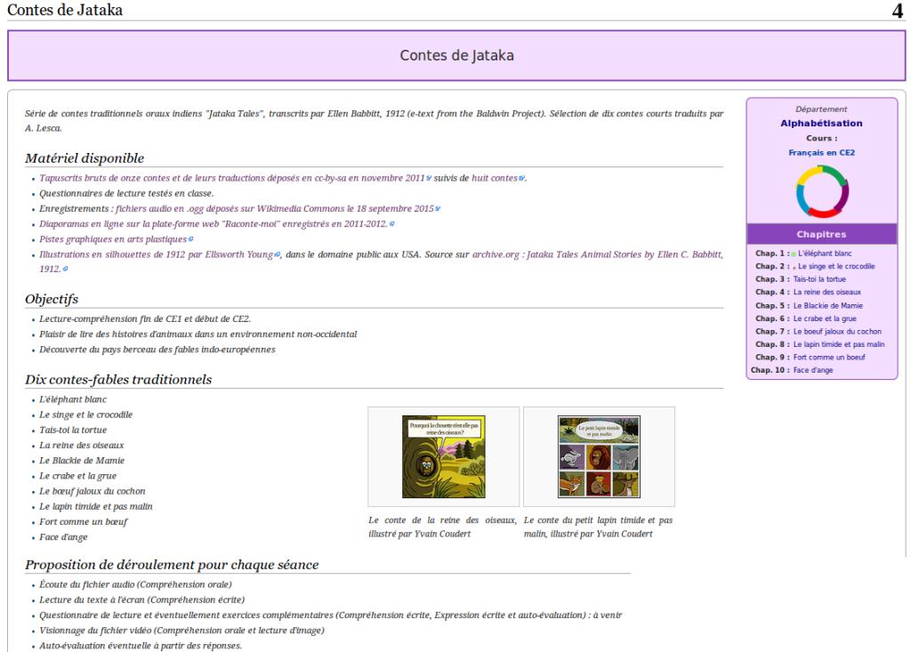Contes de Jataka sur wikiversité : textes et enregistrements sonores.