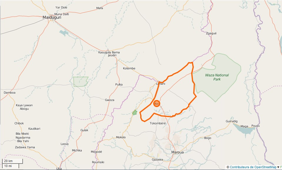 Limites communales de MORA au Cameroun.