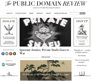"Page d'accueil de ""The Public Domain Review"""